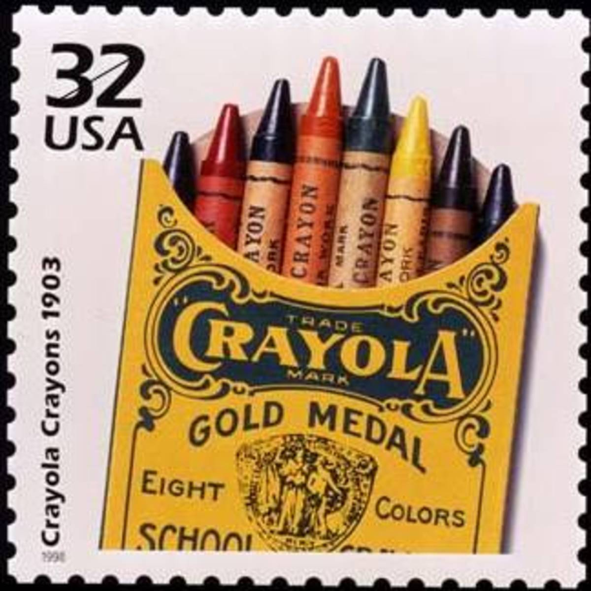 1903 box of crayola crayons on a stamp