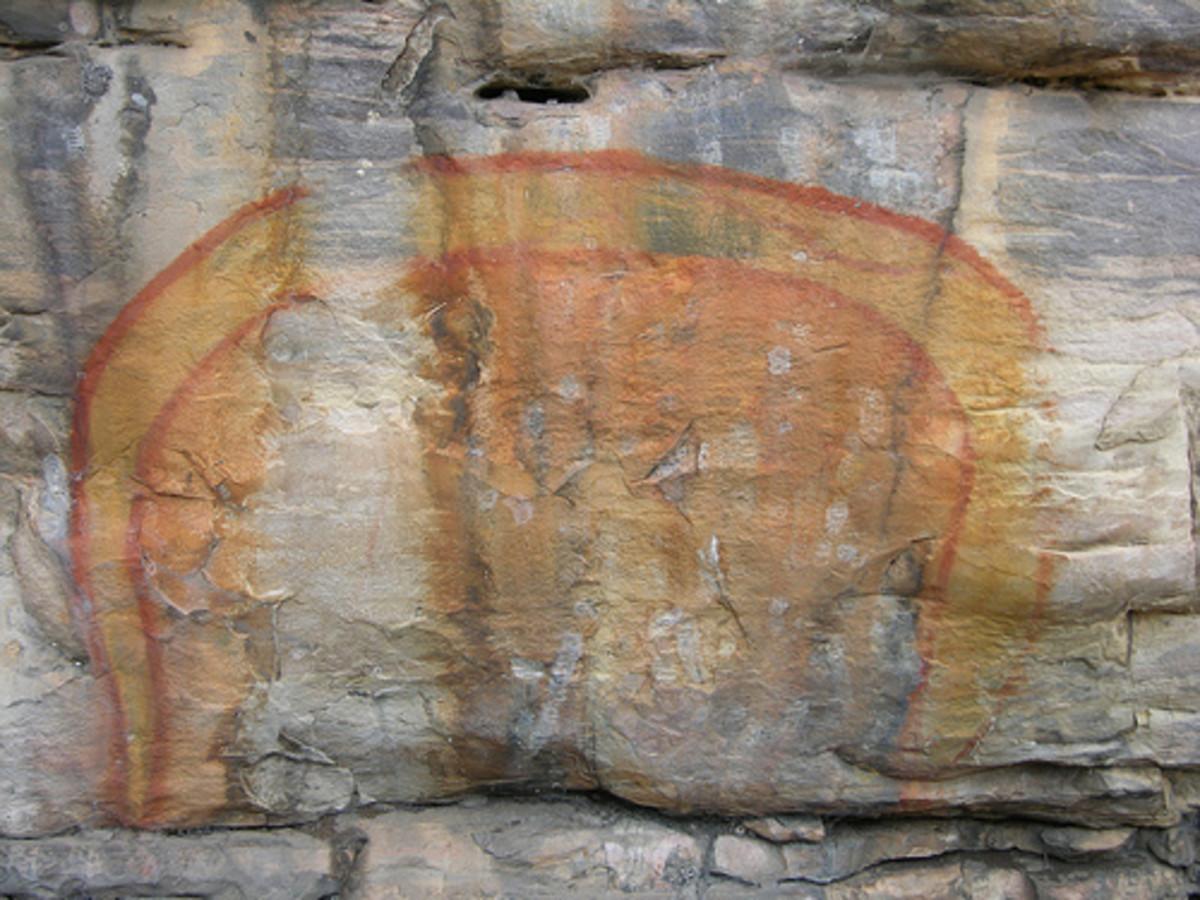 Australian Aboriginal rock art of the Rainbow Serpent.