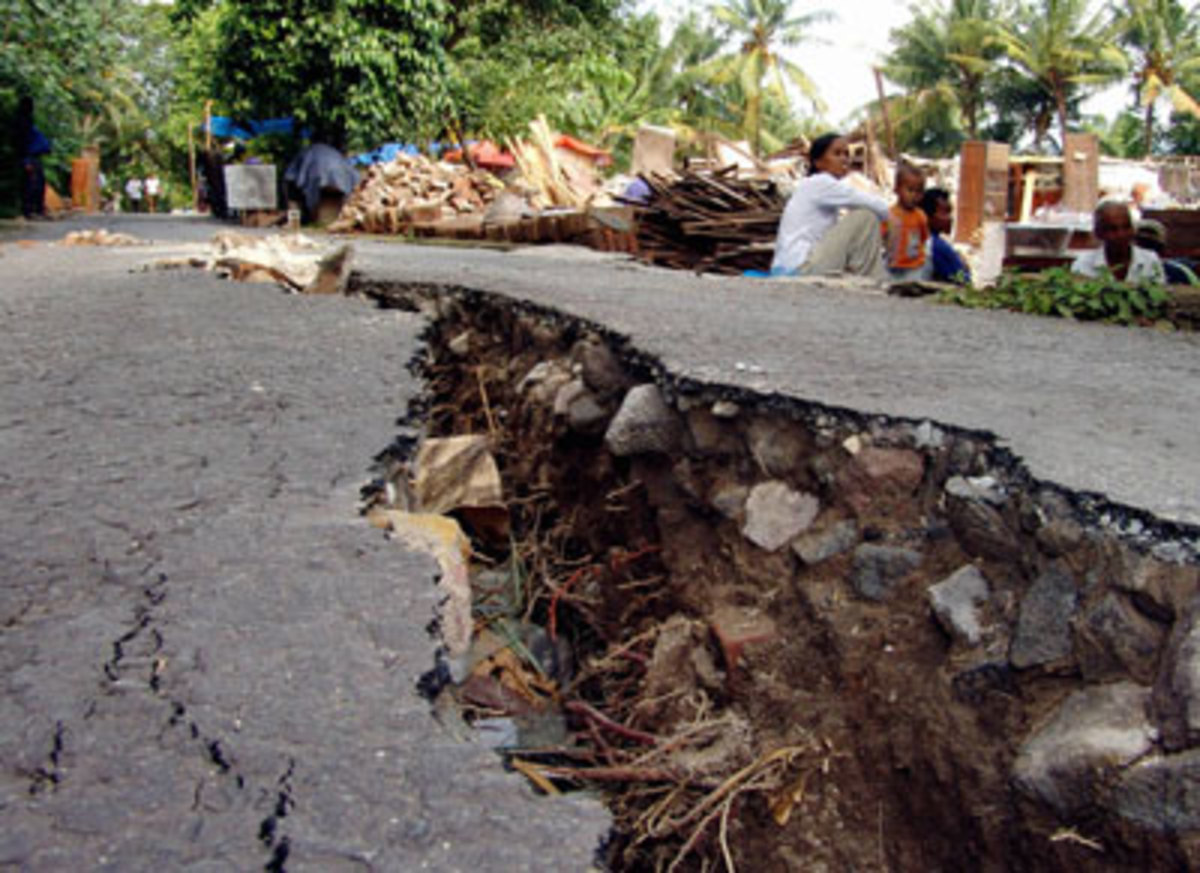 Earthquake cracks the pavement.