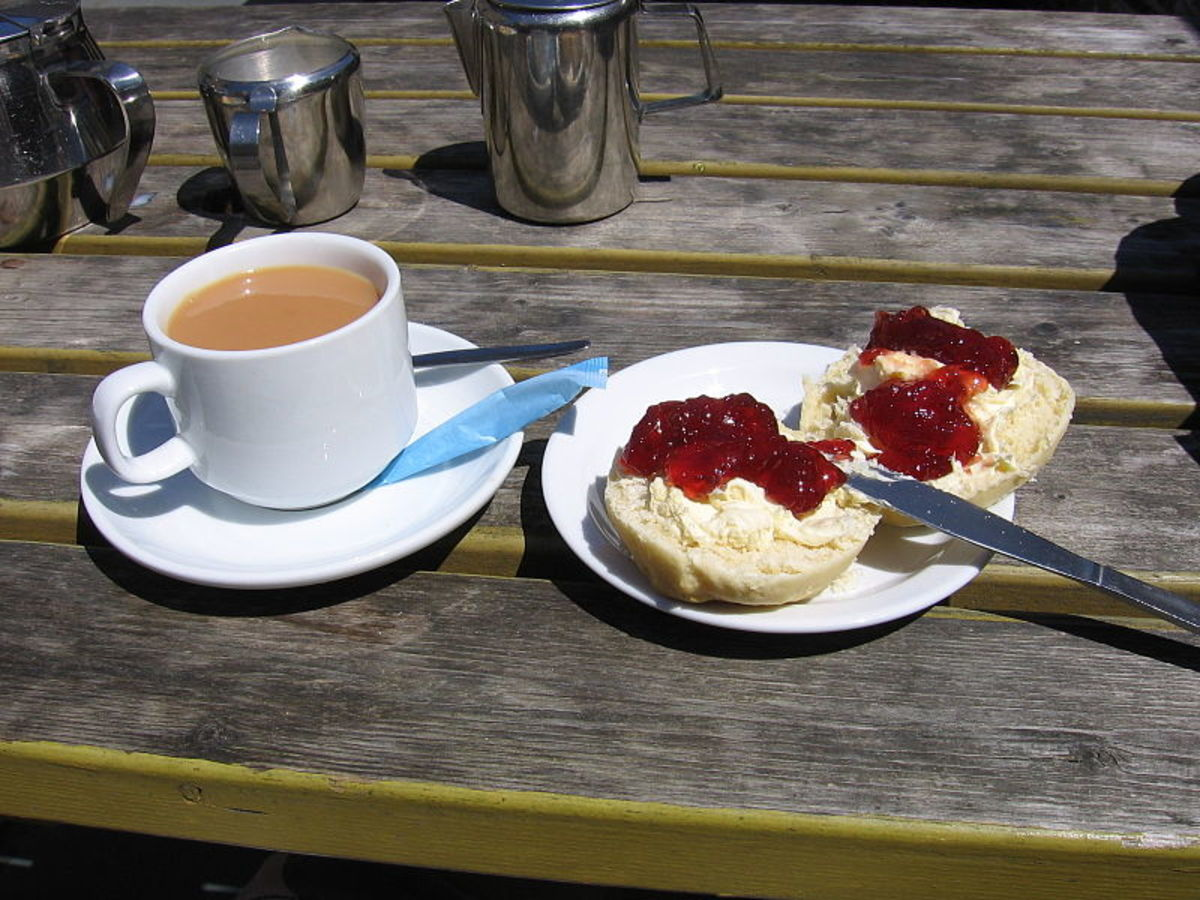 Cream Tea: Not a Cornish Cream Tea as the holidaymaker's put the cream/jam on the wrong way round!
