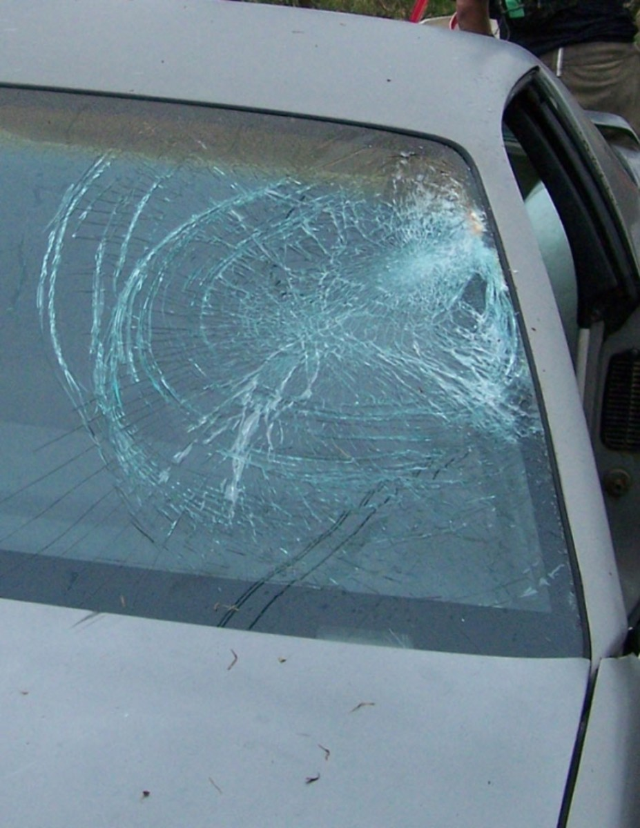 Based on the stories I have been told by the people who saw the accident, and based on how my body feels. I think my head hit at the upper right of the windshield and my shoulder hit more towards the center.. you can see those two points of impact th
