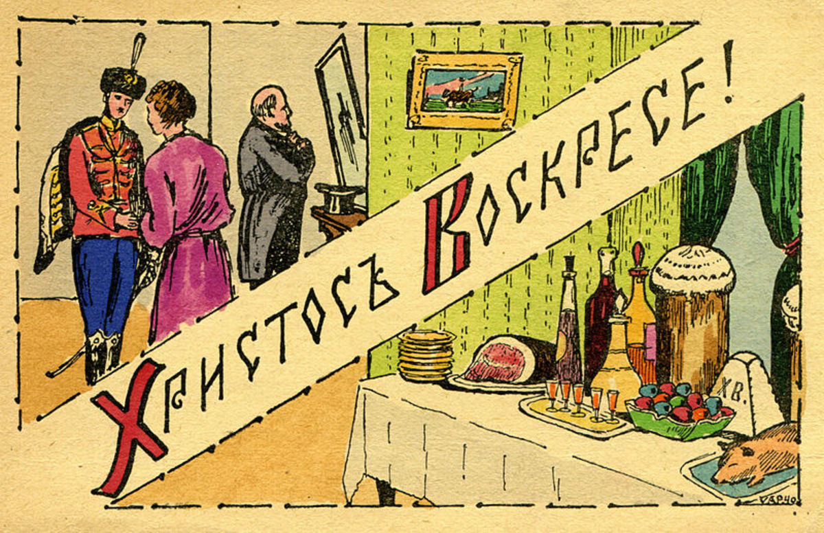 Old Russian Easter Postcard, from before 1917.  I have never seen one like this either.  Photo 3