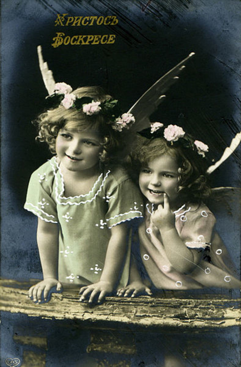 Two little girls dressed up as angels for a cute Russian Easter Postcards.  Photo 7