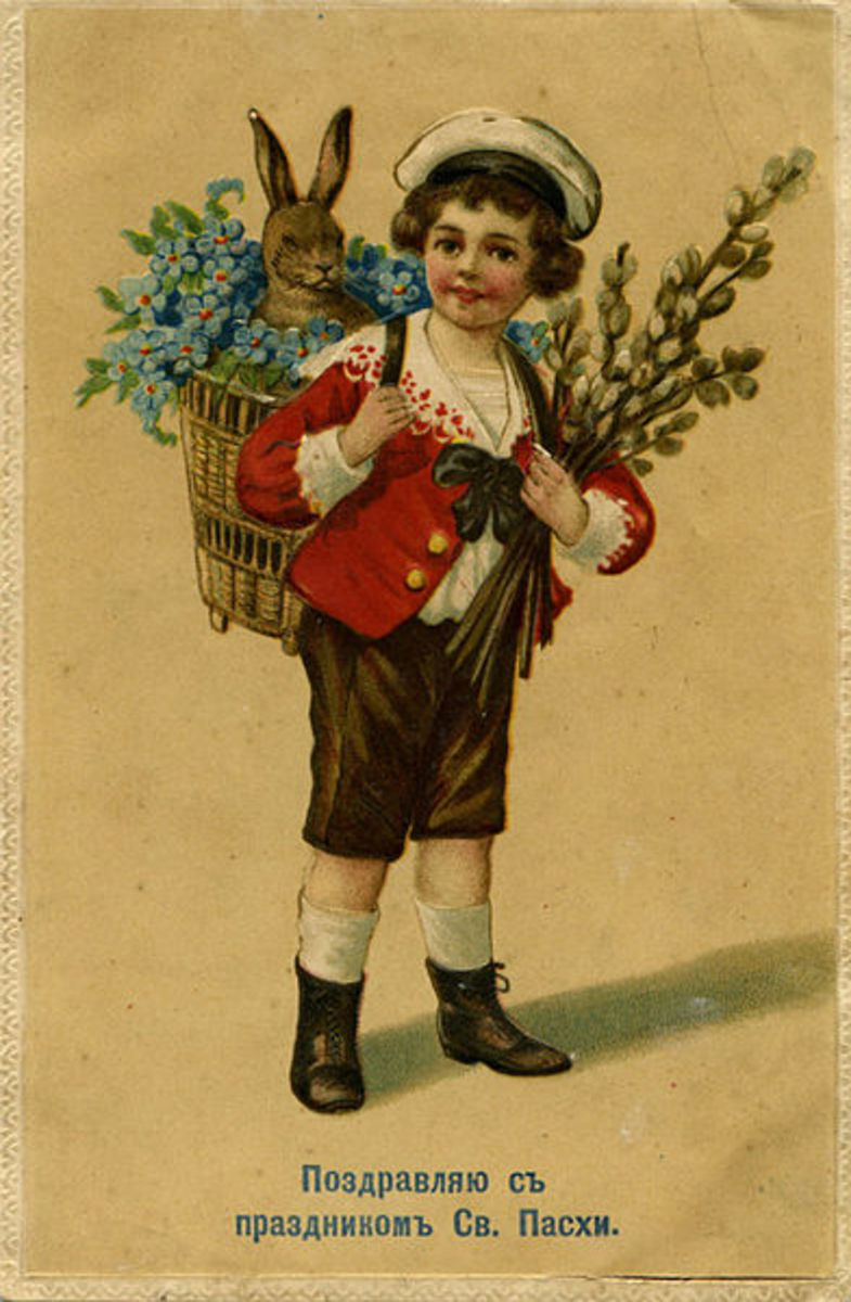 Postcard with child carrying Easter bunny and pussy willows.  Photo 8