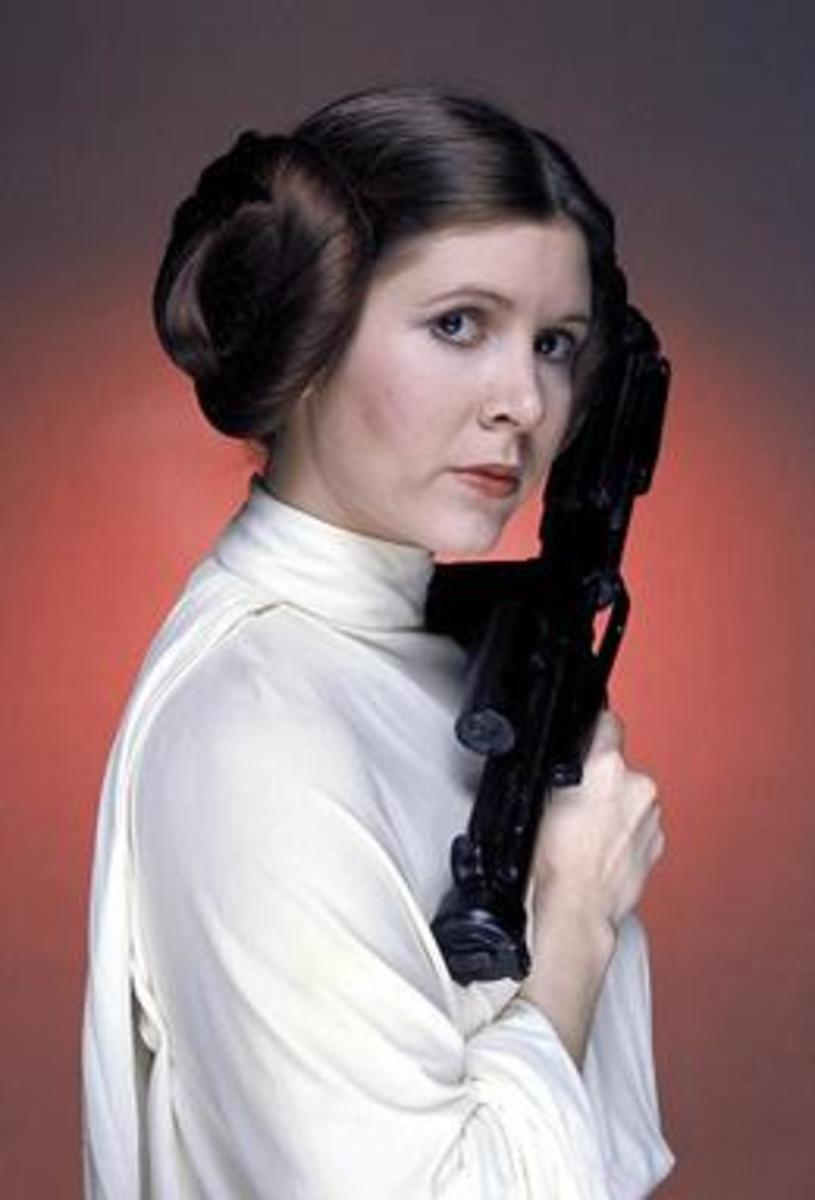 Carrie Fisher as Princess Leia in Star Wars.  her image was used to reprise the Princess Leia character in Rogue One.
