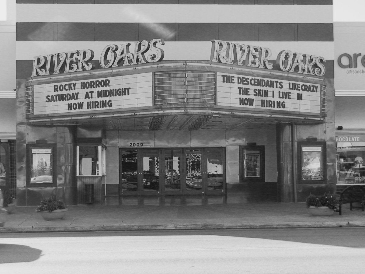 The facade and interior of the River Oaks theater have remained virtually unchanged since it was built in 1939, except for turning the balcony into two smaller theaters.