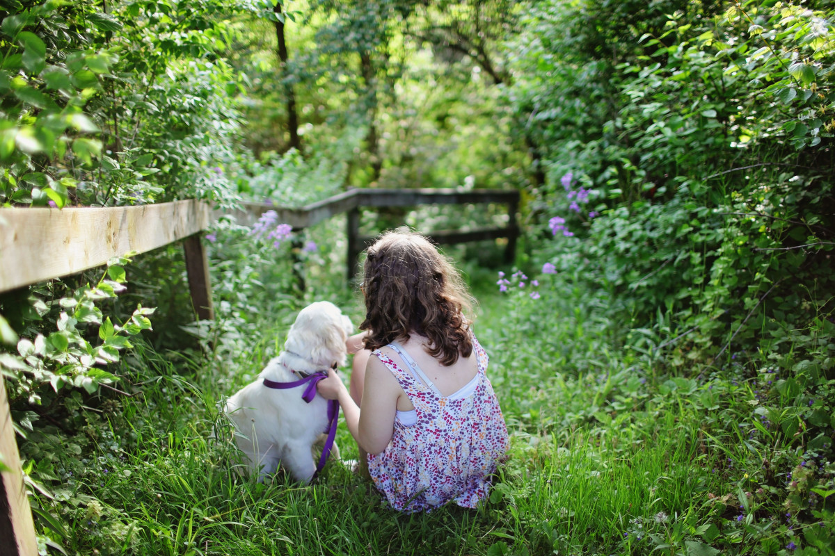 Girl playing in nature with dog