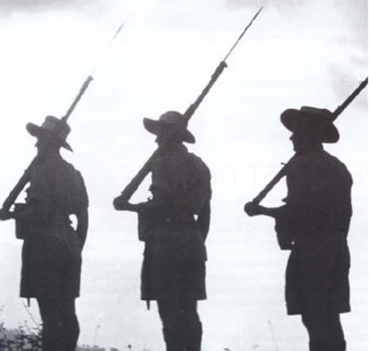 Australian soldiers silhouetted.