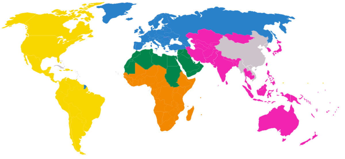 The map shows the regional divisions of the en:World Association of Girl Guides and Girl Scouts. Countries without Scouting or Guiding are marked in grey. Date 8 January 2006 (original upload date)