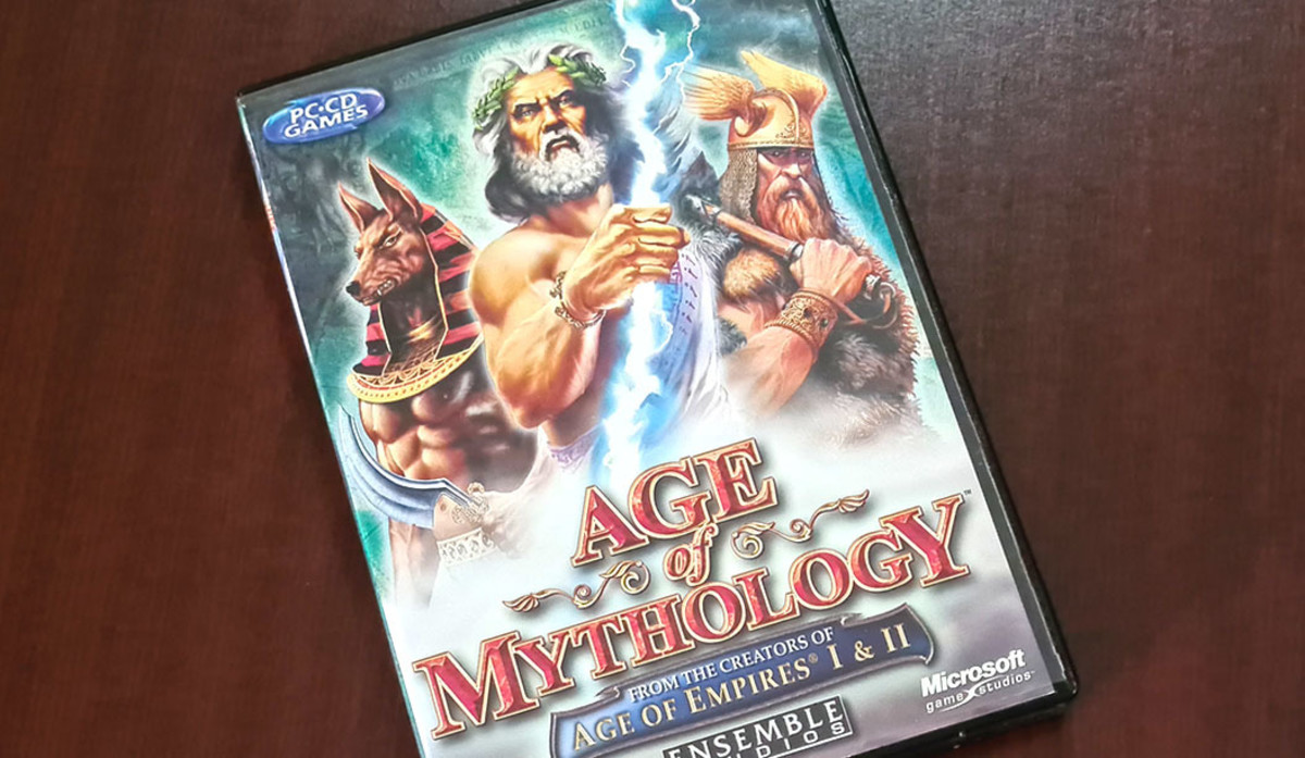 Zeus and his formidable lightning bolt takes center stage on the cover of Ensemble Games' Age of Mythology.