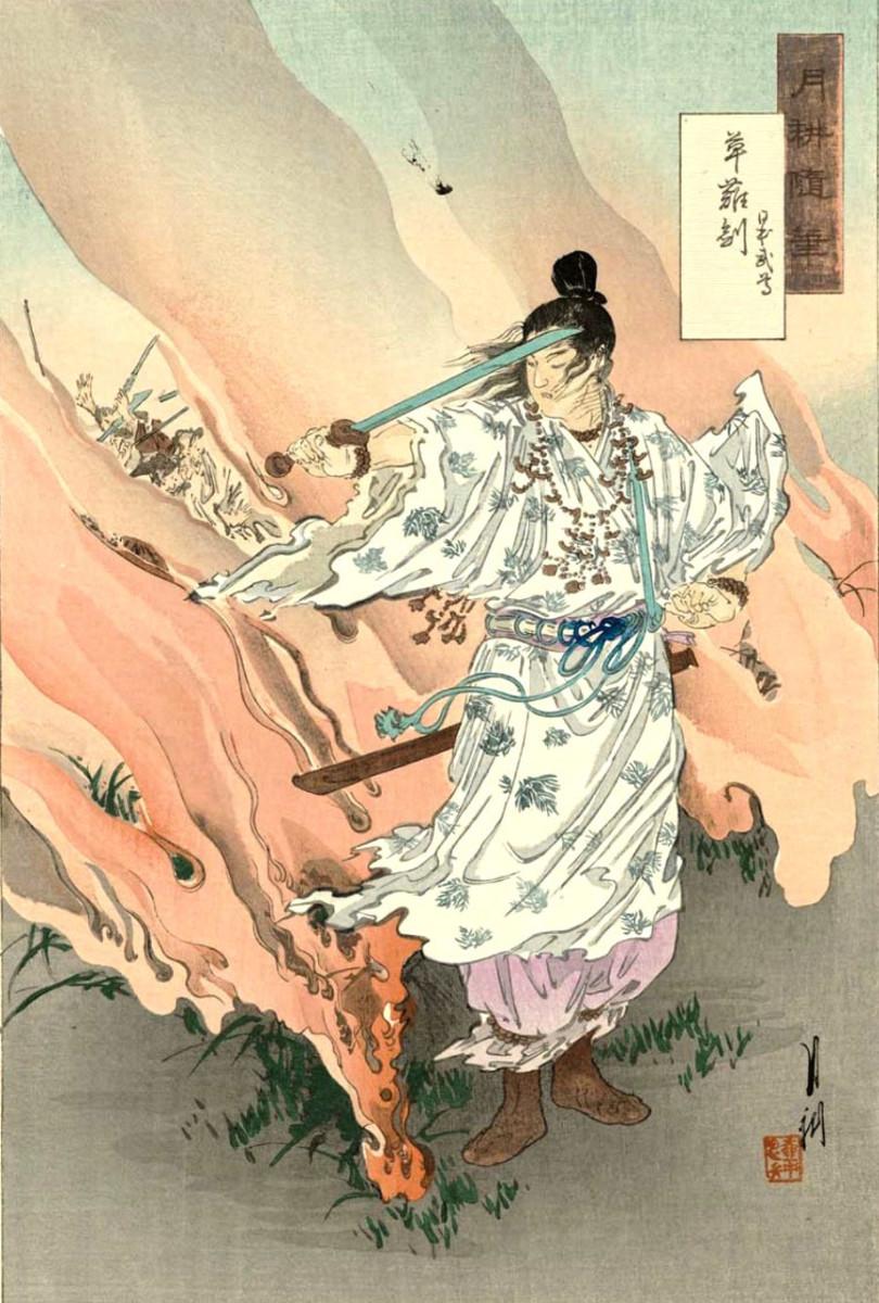Prince Yamato Takeru wielding Kusanagi no Tsurugi, the most powerful mythological weapon of Japan.