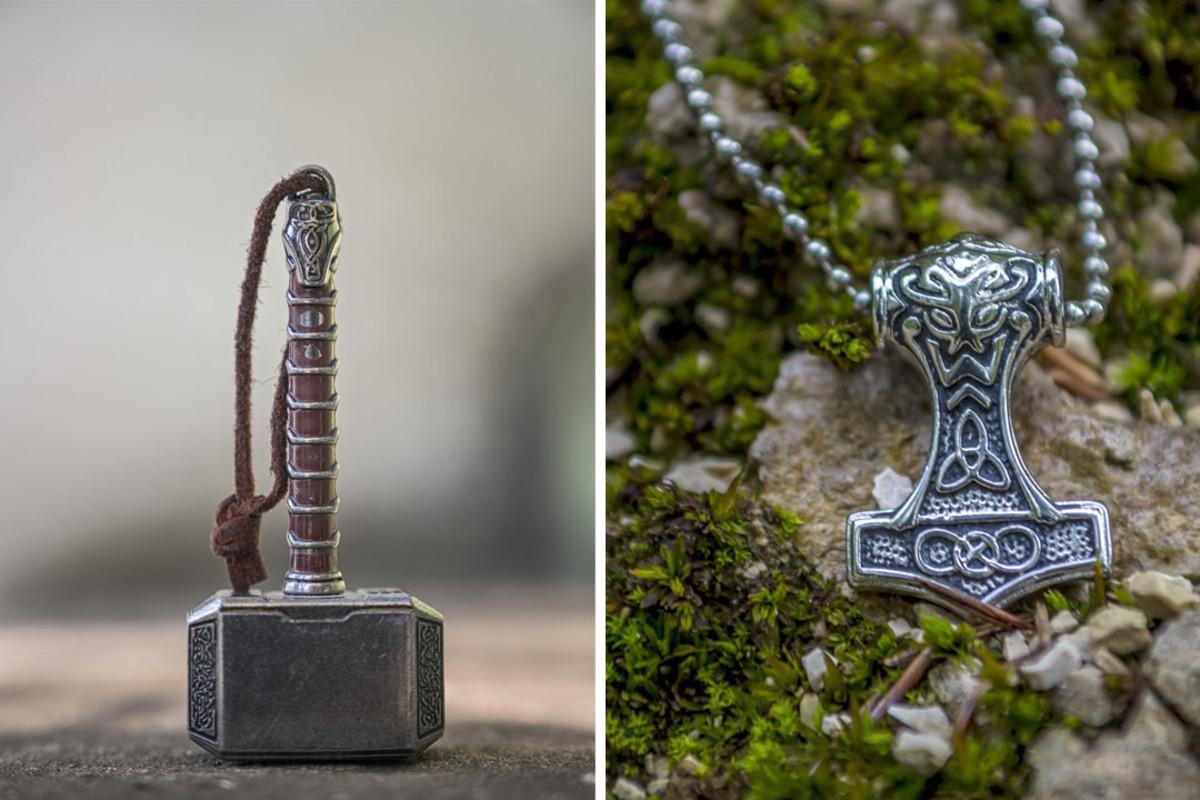 Pop culture interpretation of Thor's Mjolnir versus replica of a historical Mjolnir pendant.