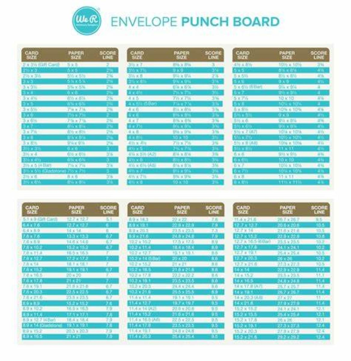 Find the size of the card that you want to make an envelope for. The guide will give you all the information that you need to make just the right envelope for your project