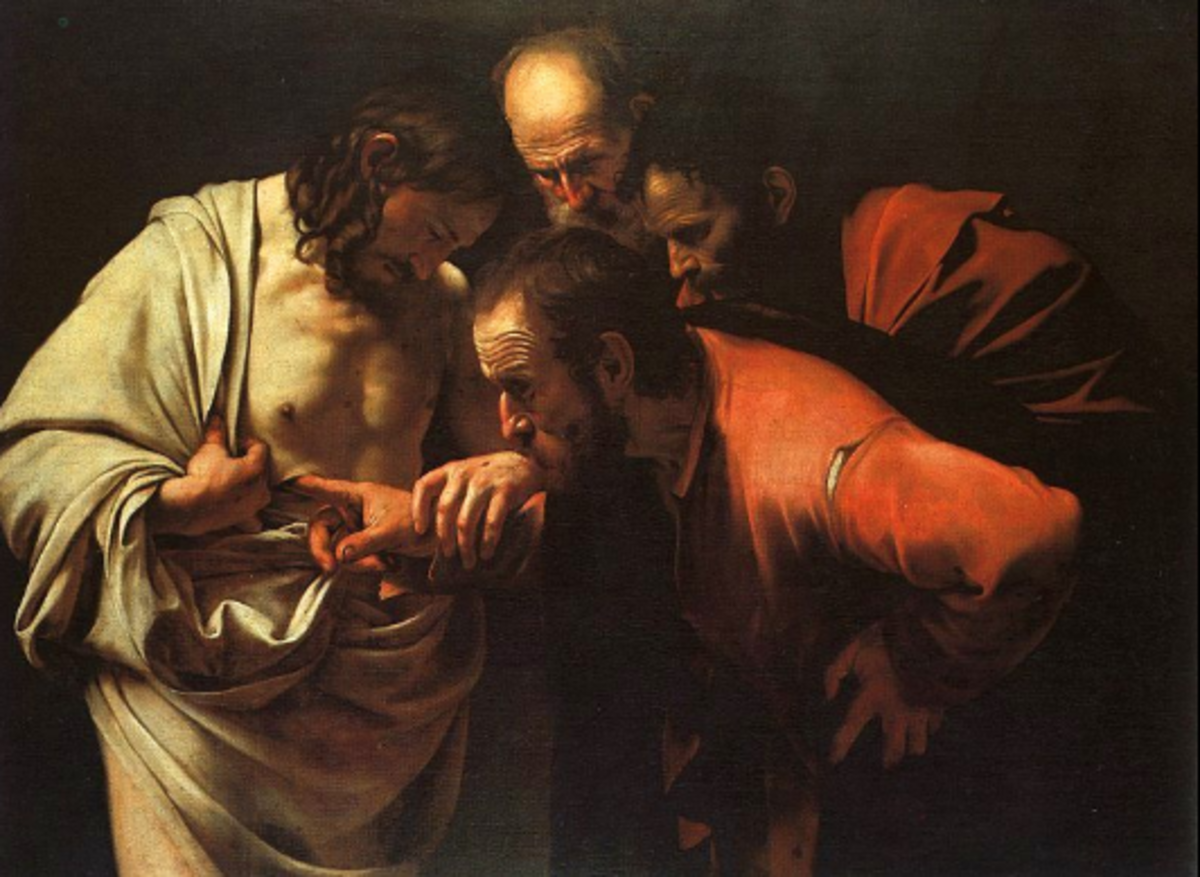 Doubting Thomas touching Jesus' wounds