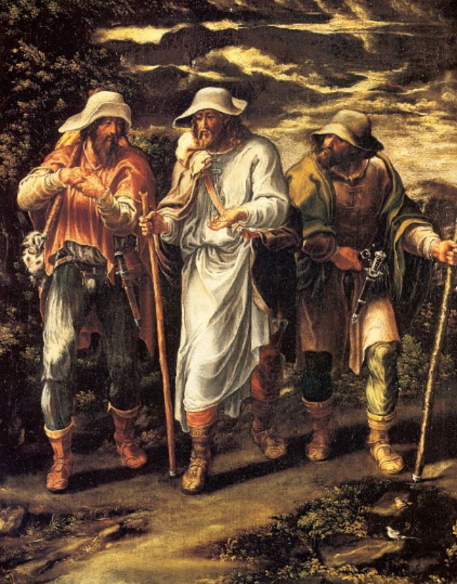 Two disciples with Jesus on road to Emmaus