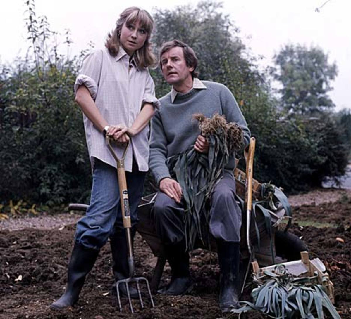Barbara and Tom Good in their garden