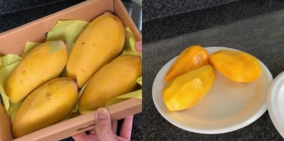 Remove the skin of mangoes