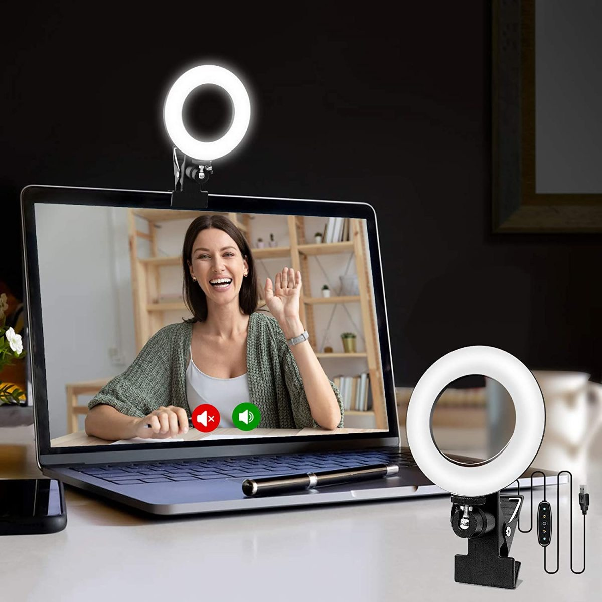Cyezcor Video Conference Lighting Kit, Light for Monitor Clip On,for Remote Working, Distance Learning