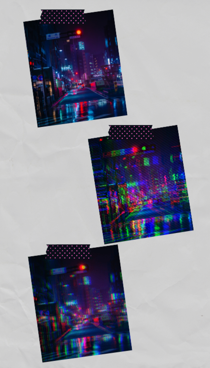 Some examples of glitch effects applied to images. The first image is the original, without any effects applied to it.