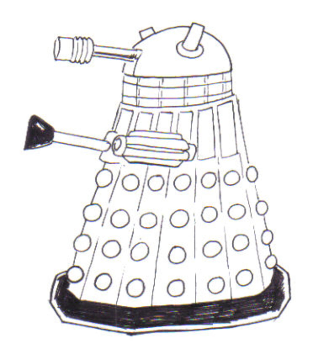 Complete Dalek drawing inked and all.