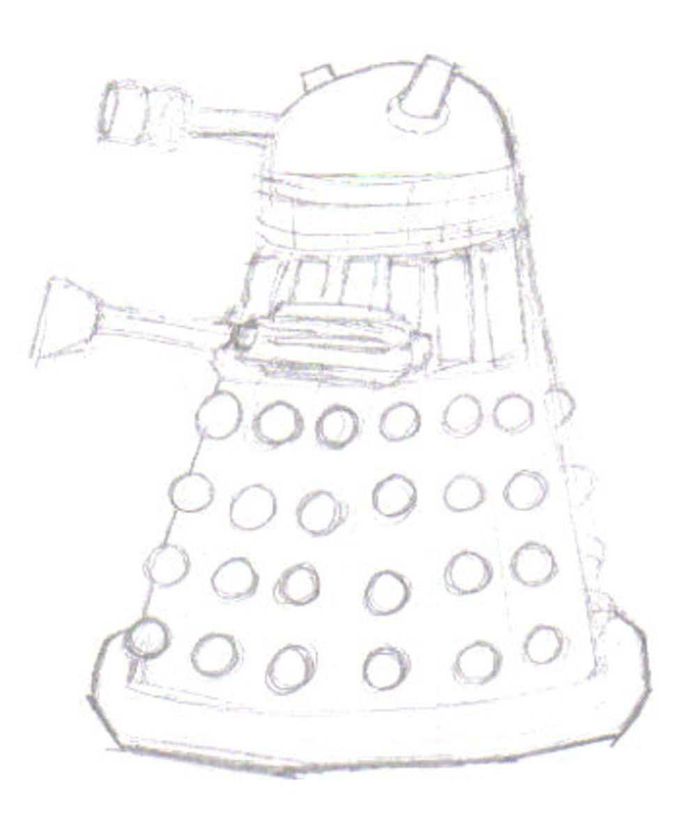 See the Dalek is looking more like a Dalek now after a little harder pencil line work.