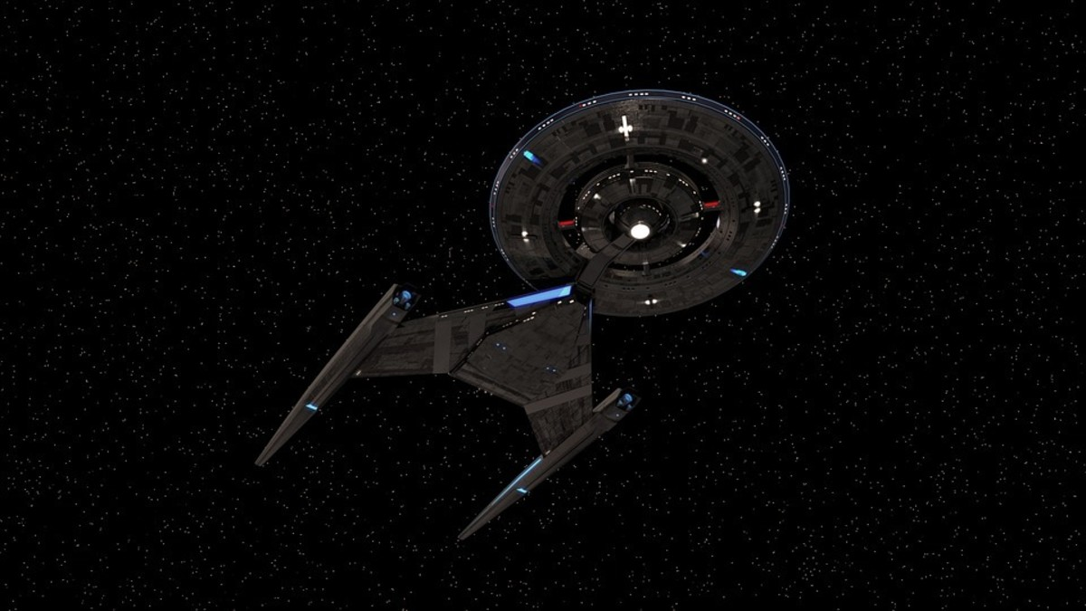 Discovery is an unusual looking starship.