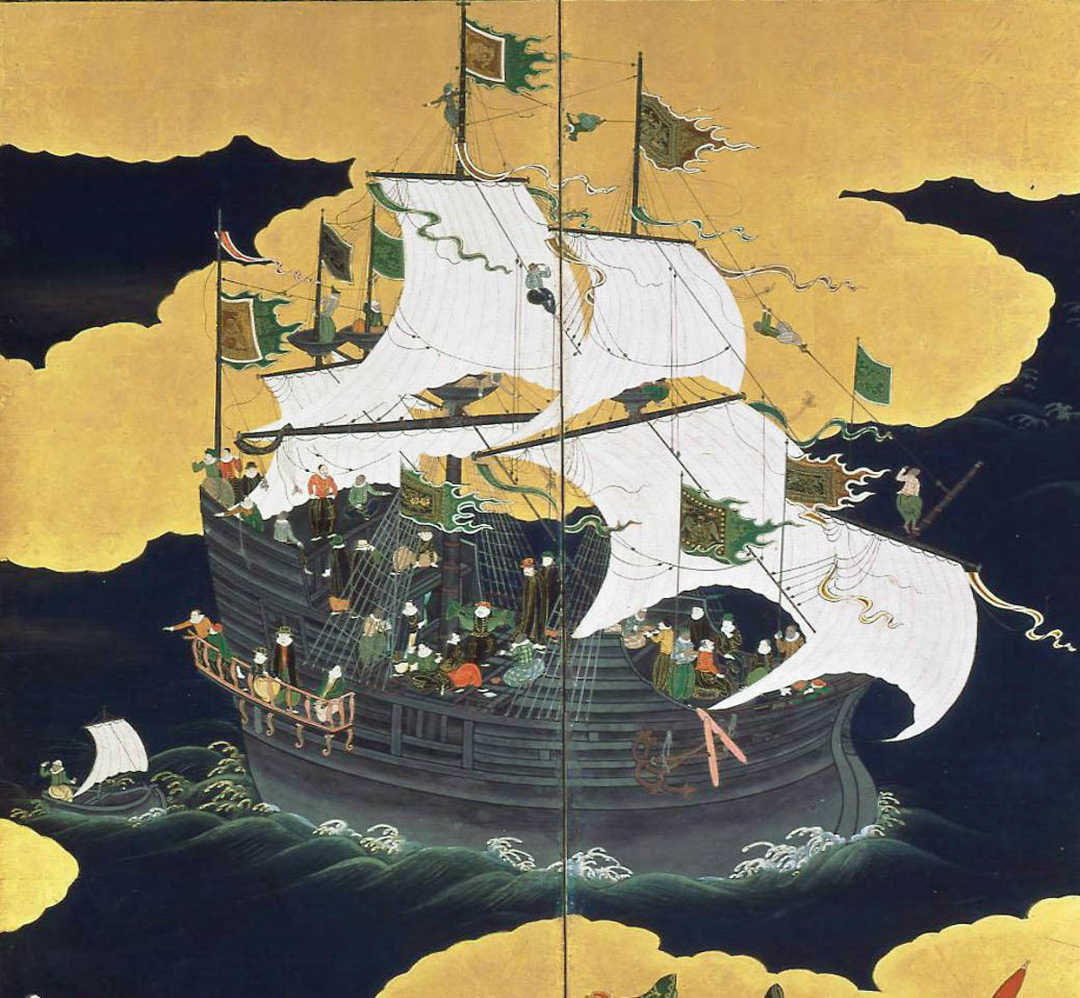 """Portuguese trading ship, a carrack, """"nau"""" in Nagasaki, picture from the seventeenth century."""