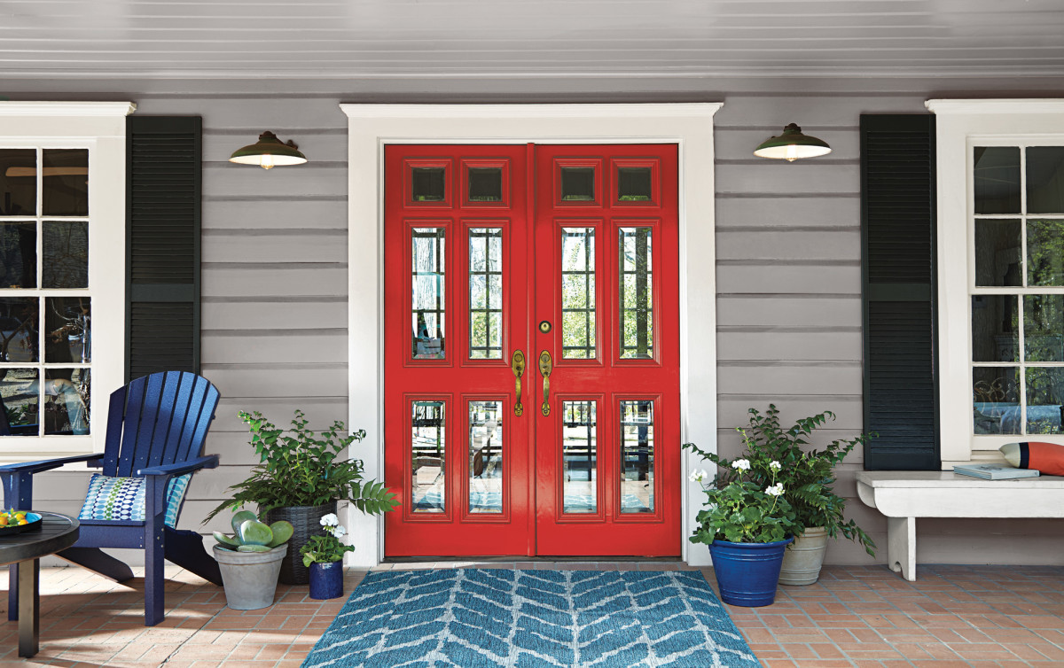 Red has always been a vibrant, dynamic choice when it comes to the front door color.