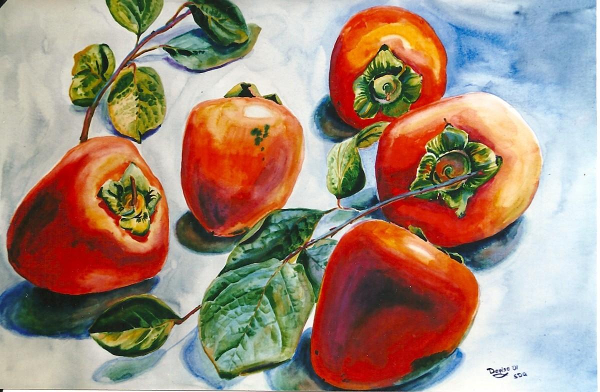 Persimmons in watercolor