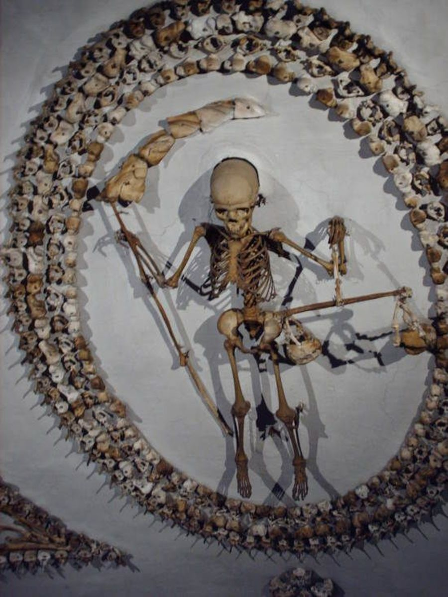 What could be seen in the Crypt of the Three Skeletons.