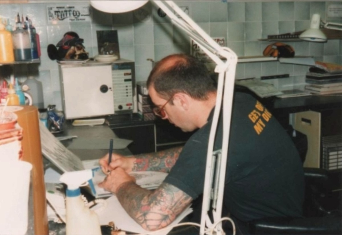 This is Lal Hardy drawing out the design before starting work on the tattoo itself