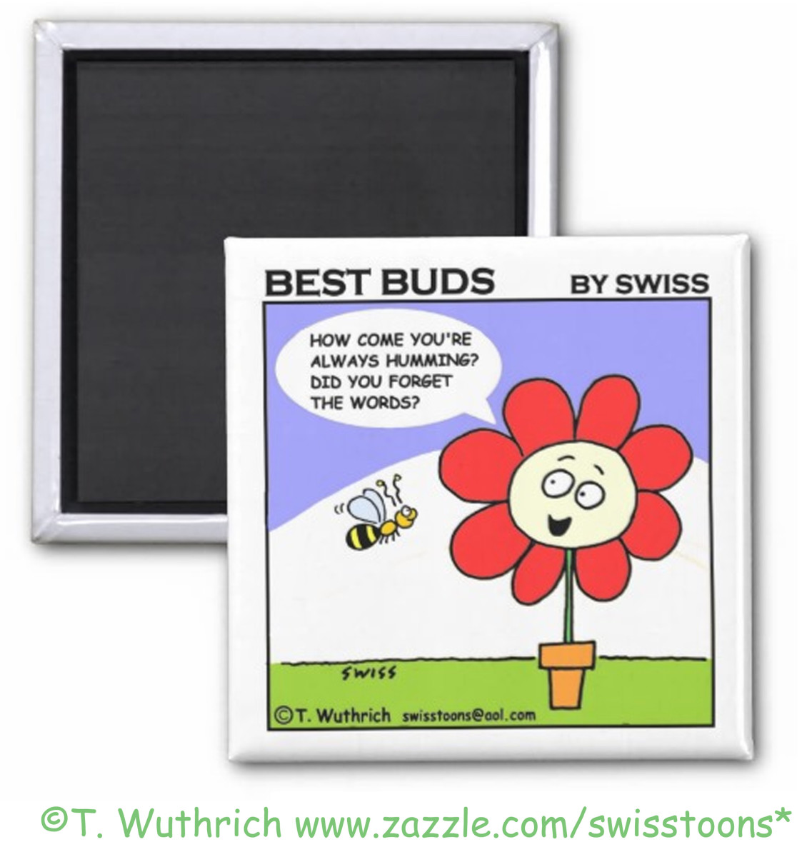 Cute red flower and bee friend cartoon by Swisstoons.