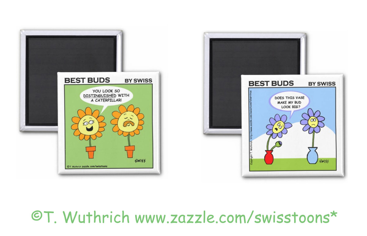 Funny flower cartoon magnets for husbands and wives by Swisstoons