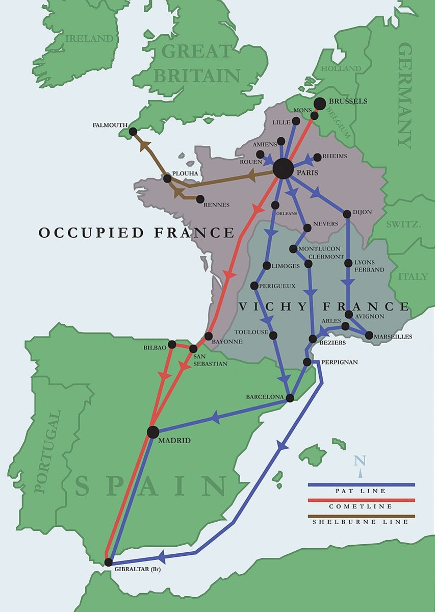 A map of various World War 2 escape lines used to sneak Allied airmen out of occupied Europe. The Comet Line is in red.