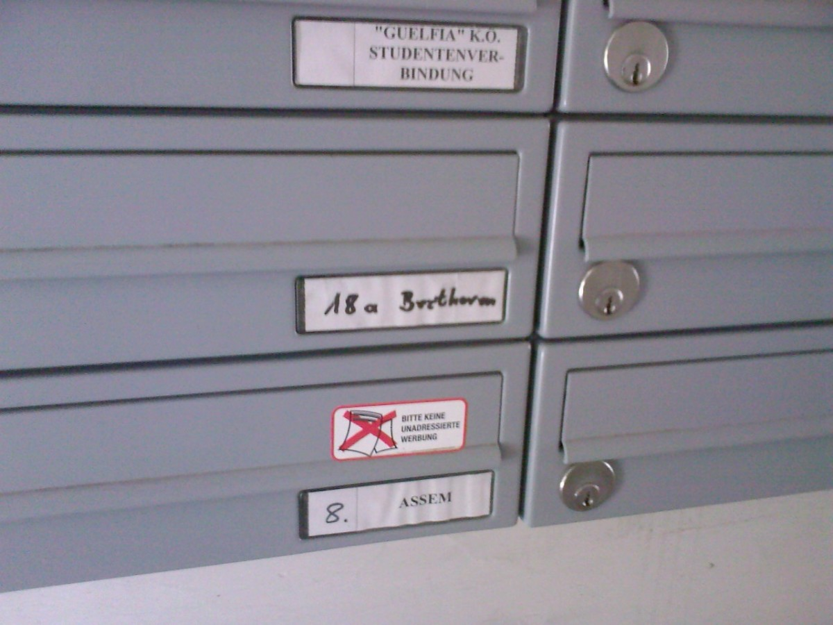 Beethoven's mailbox :). As you can see, the building where his apartment is located is still currently in use.