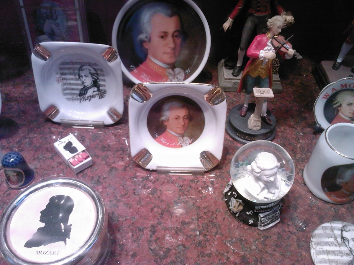 Various Mozart merchandise