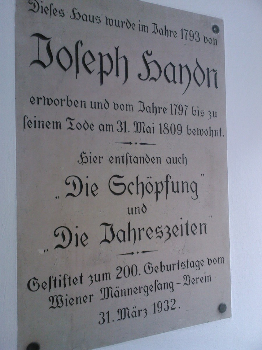 "The plate introducing the house where Joseph Haydn lived his last years and wrote the two compositions ""The Creation"" and ""The Seasons"""