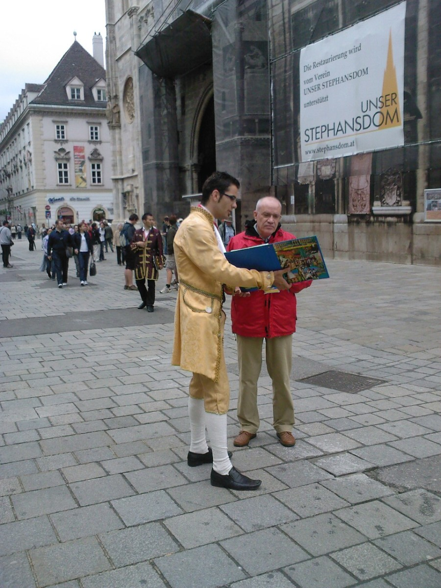 Concert ticket sellers on the street of Vienna.