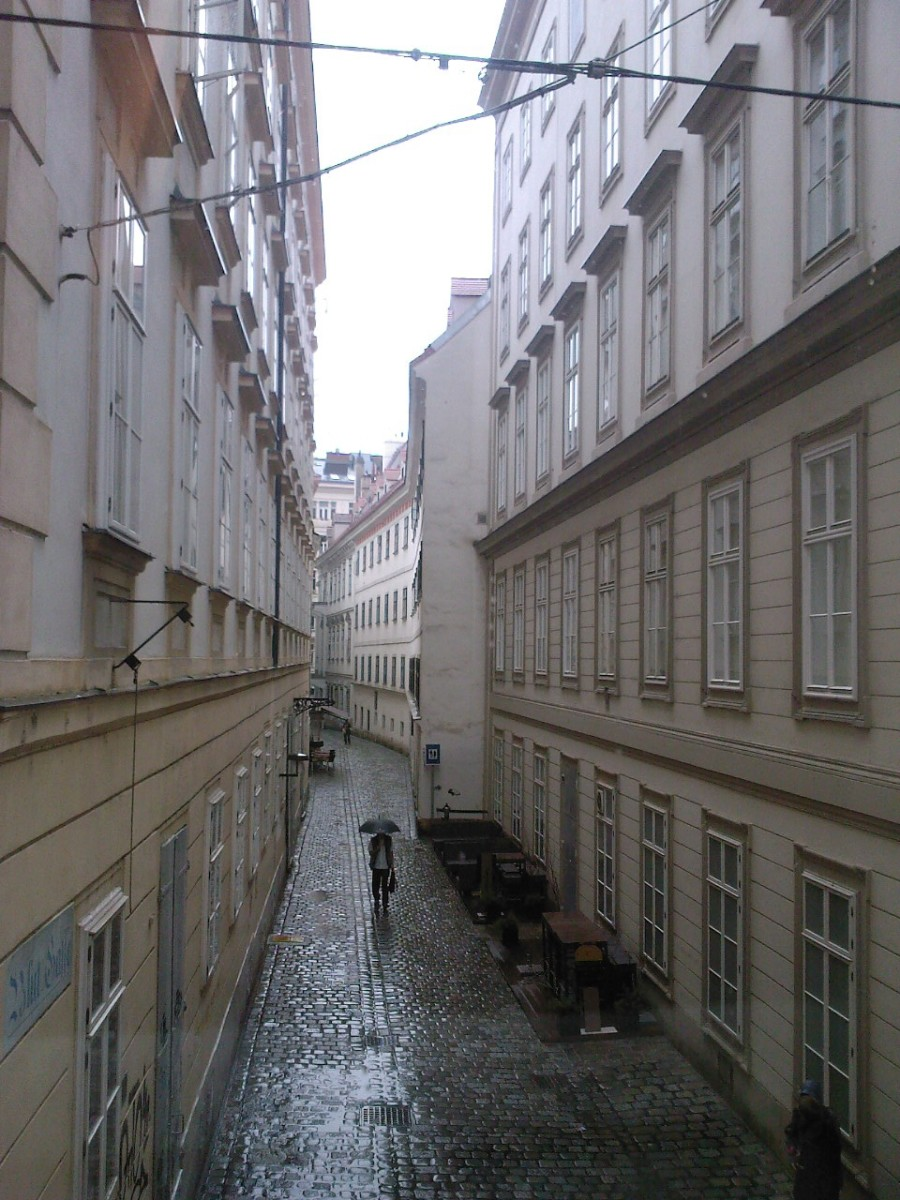 The view from Mozart's house, which is said to have been unchanged since the time he lived there.