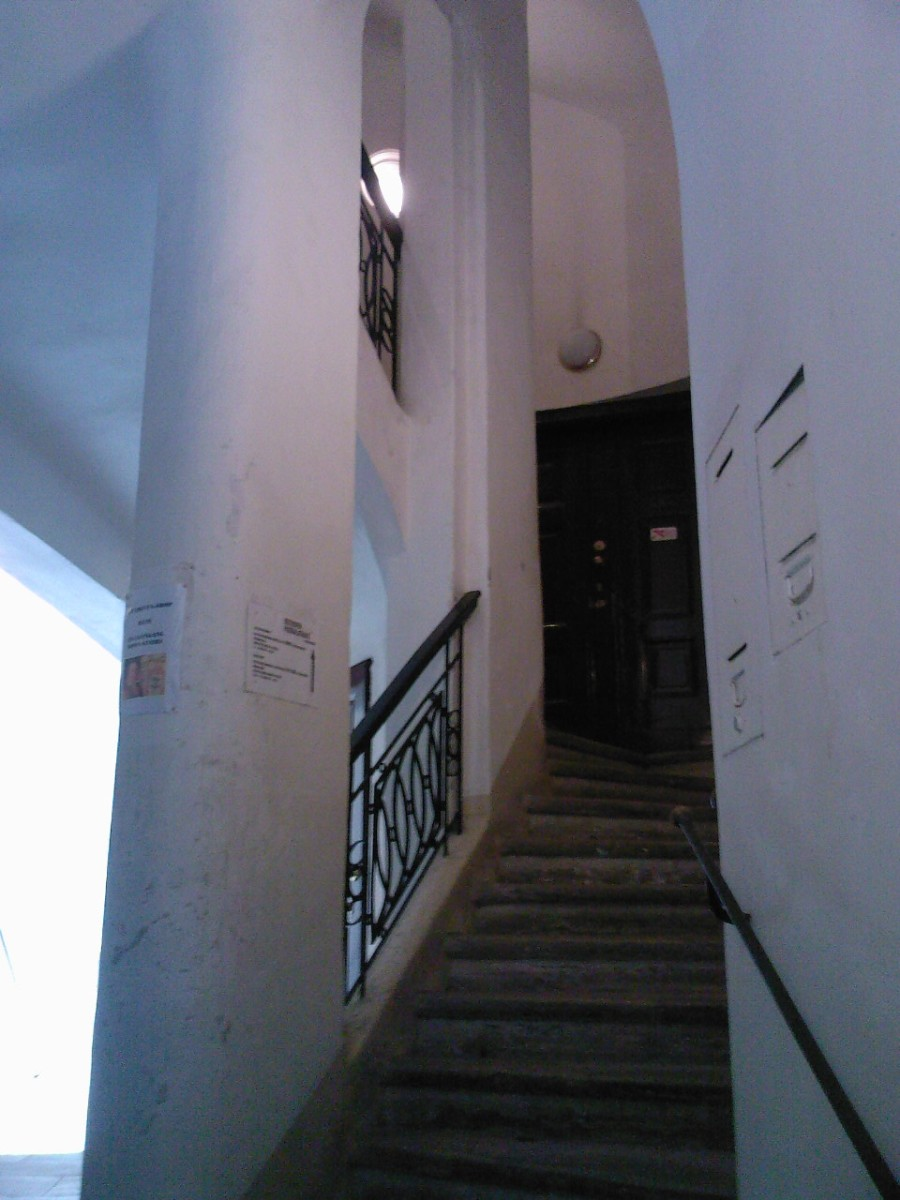 "The staircase leading to Beethoven's ""Pasqualati"" apartment (where he composed his only opera ""Fidelio"" and other works, including the probably most well-known piece in classical music ""Fr Elise""."