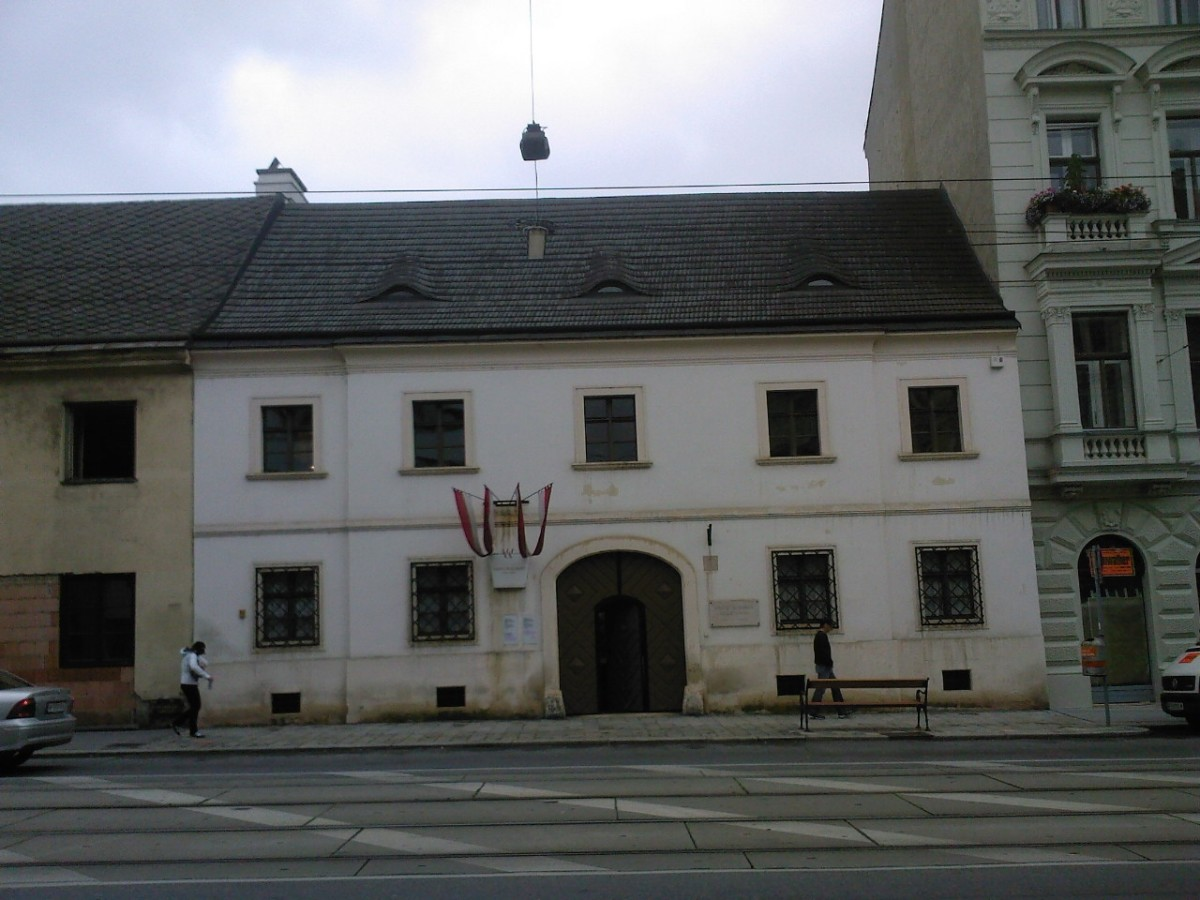 The front of Franz Schubert's childhood house. More exactly, his family occupied only one apartment in this building, and it is really small.