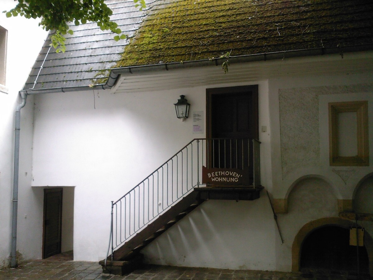 "Outside the house in Heiligenstadt, a Viennese suburb famous for its spa. Beethoven stayed here hoping to cure his increasing deafness. When that proved impossible, he wrote the so-called ""Heiligenstadt testament"" expressing his desperation. The orig"