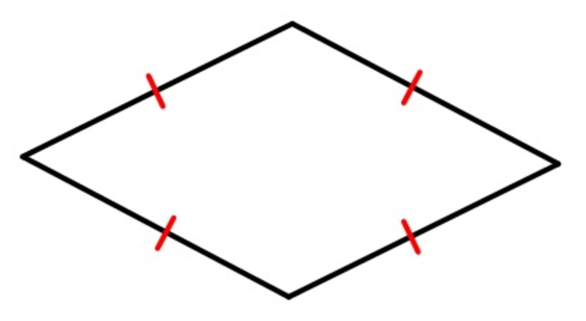 A rhombus is a quadrilateral (four-sided figure) with all sides of equal length, as the red lines indicate. In the triboelectric generator, the sides are made of plastic coated with a material that can either accept or donate electrons.