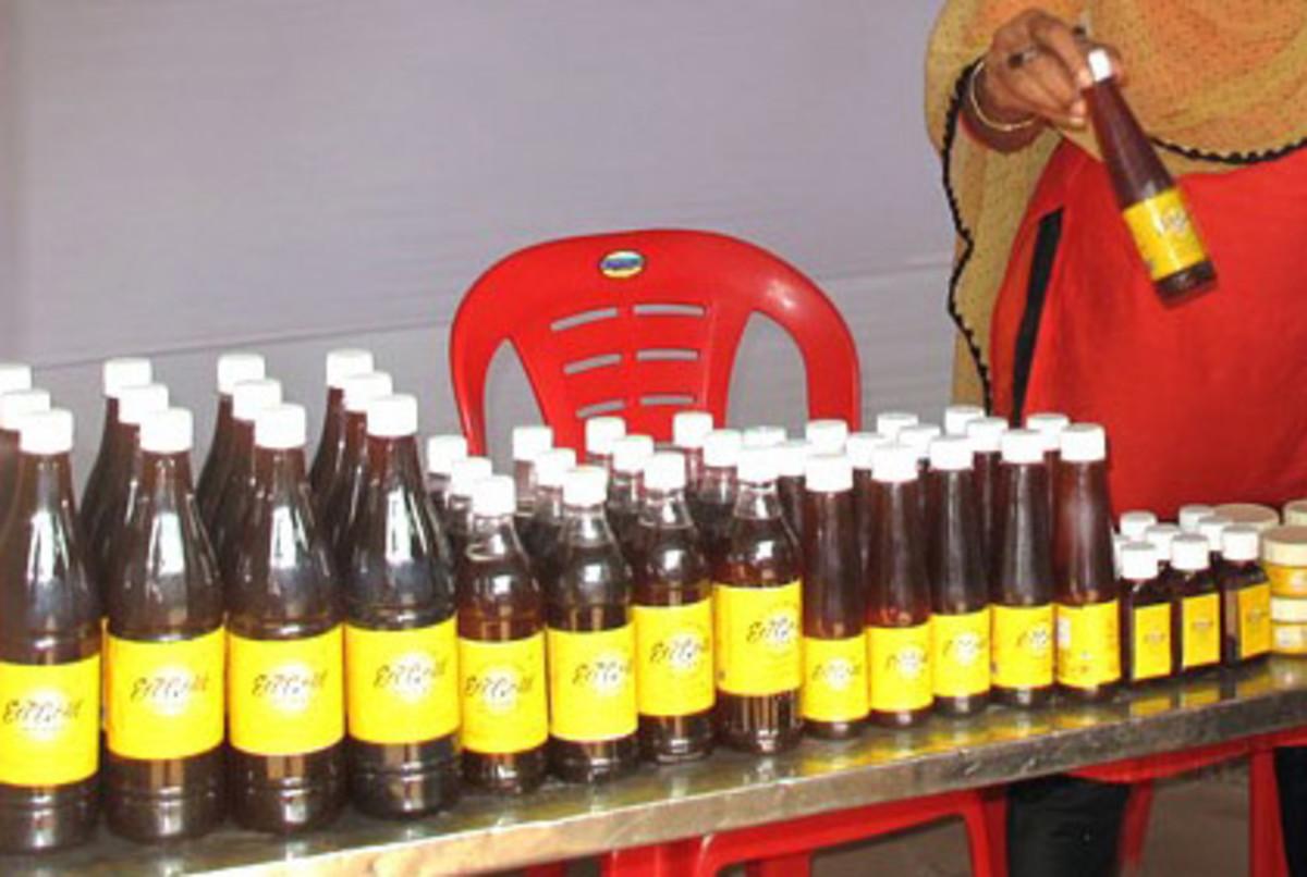 Honey filled bottles