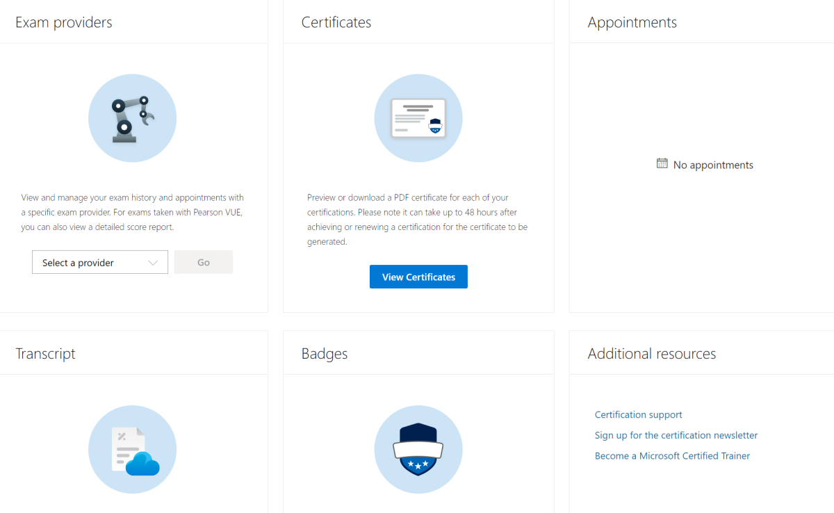 To find your Azure exam score report, log into the dashboard