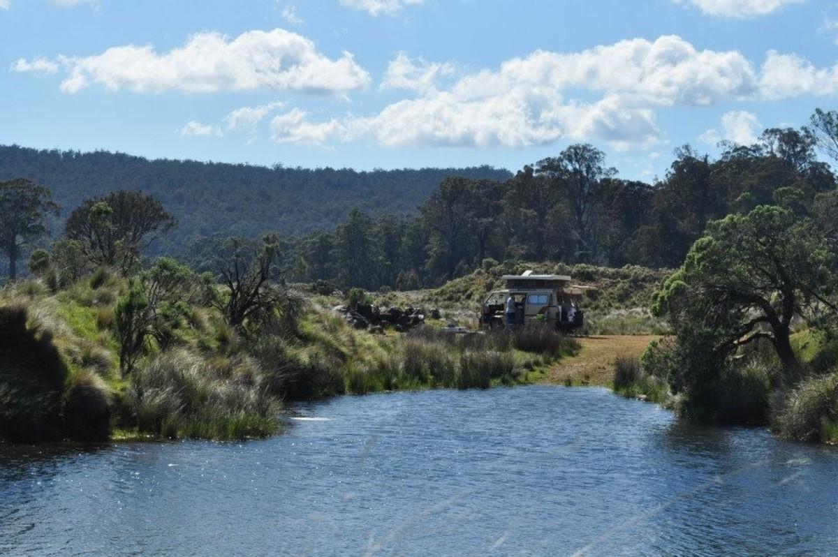 Campsite all alone, Tasmania RV trips in camper