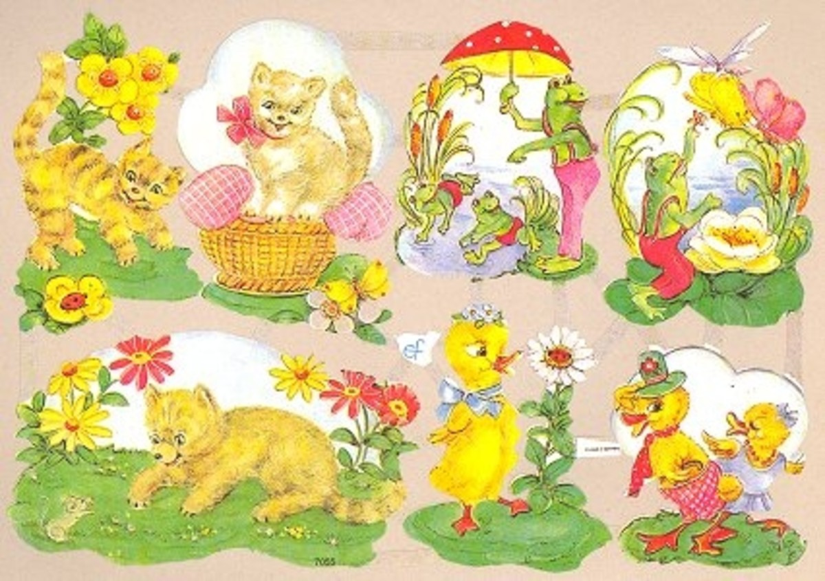 German Die Cuts with Frogs, Cats and Ducks