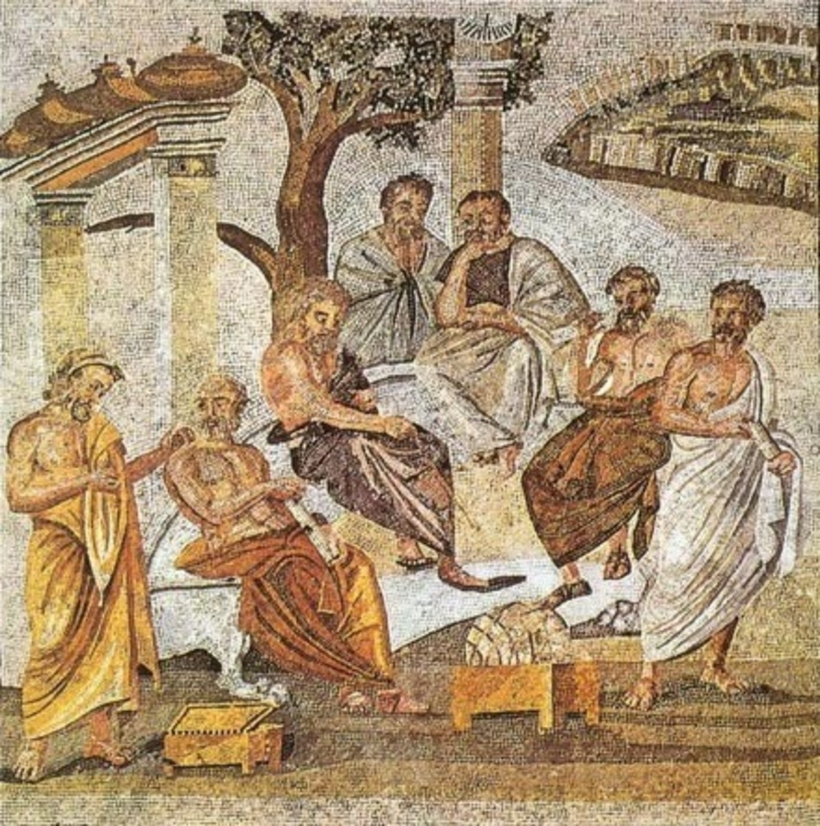 First century BCE Roman mosaic of Plato's Academy mosaic. The mosaic has been interpreted as having the central figure, Plato, pointing with a stick at the globe.