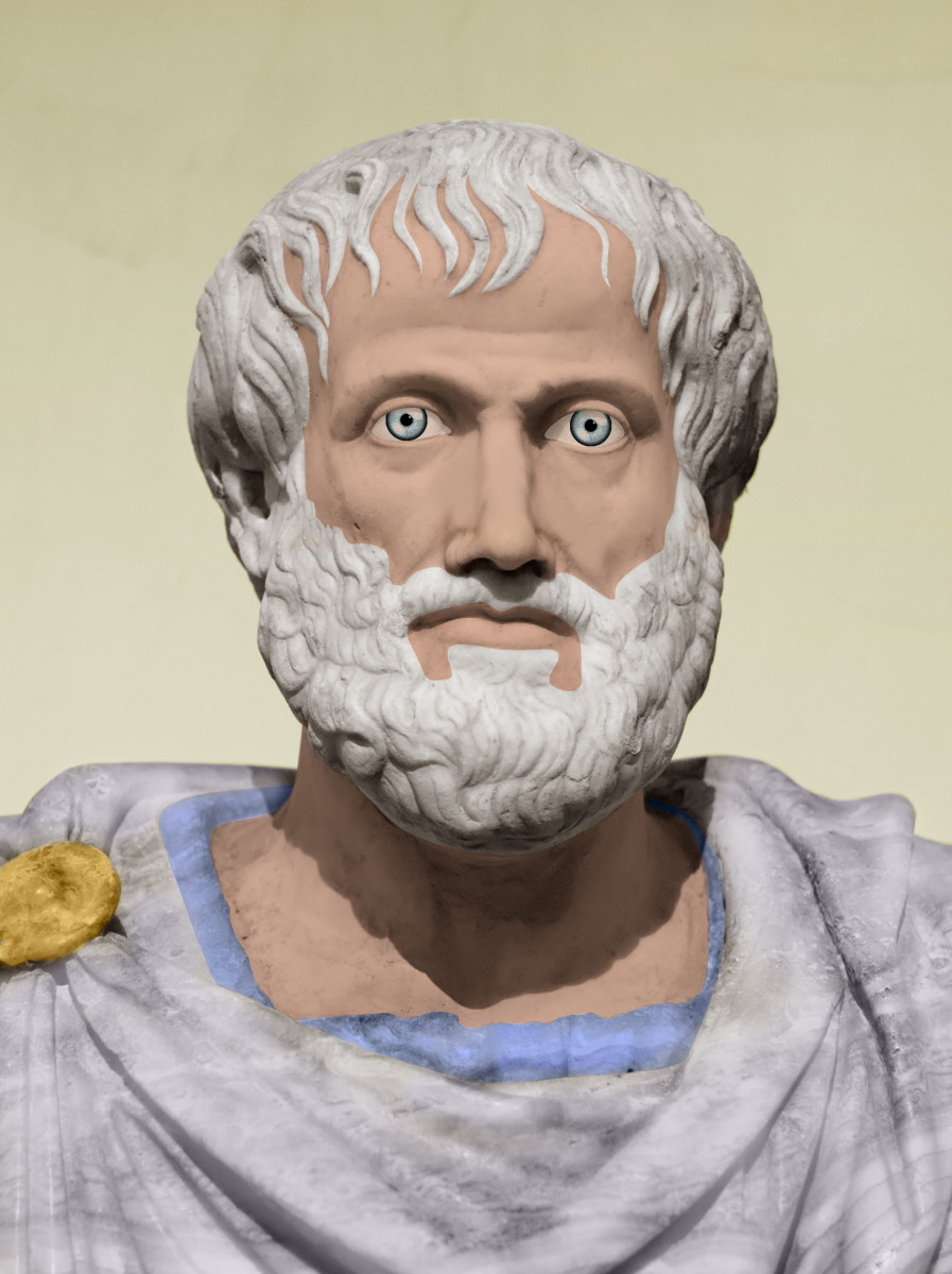 Colorized bust of Aristotle.