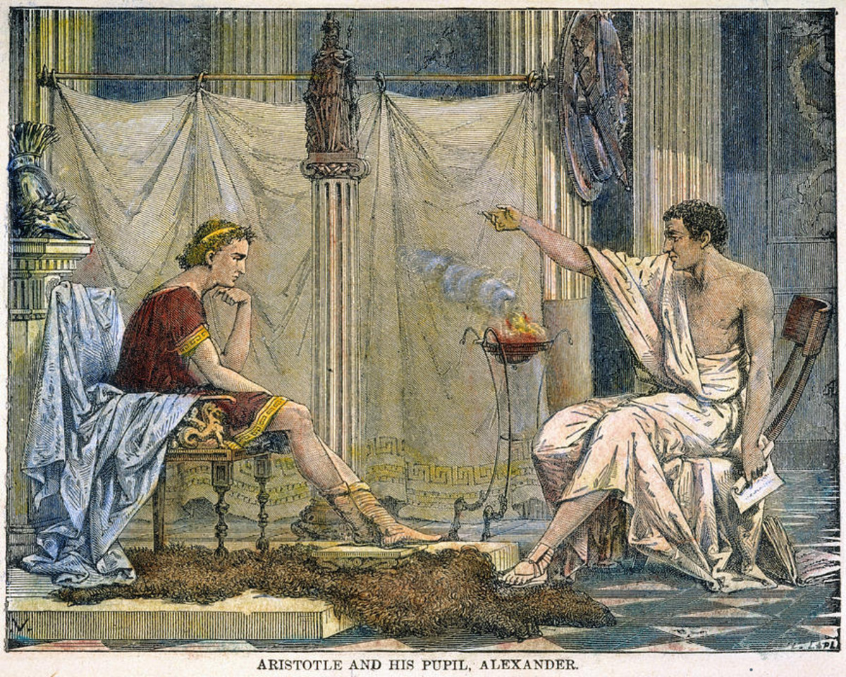 Aristotle and his student Alexander.